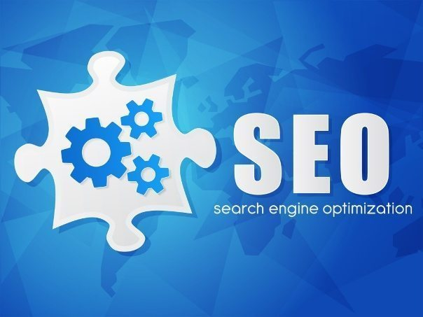 SEO with puzzle and world map, search engine optimization, flat design