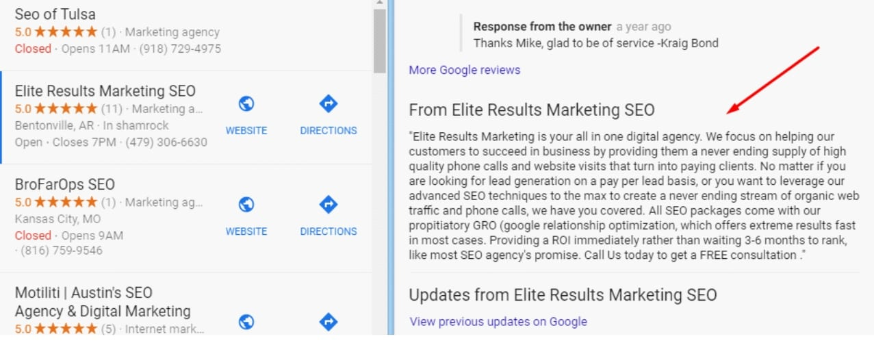 how to optimize google my business description